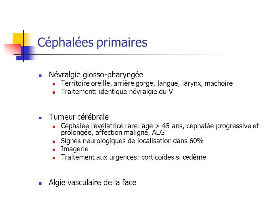 Céphalées primaires Névralgie glosso-pharyngée Tumeur cérébrale