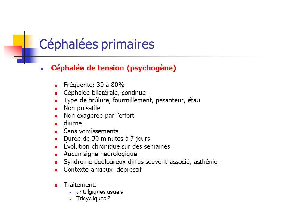 Céphalées primaires Céphalée de tension (psychogène)