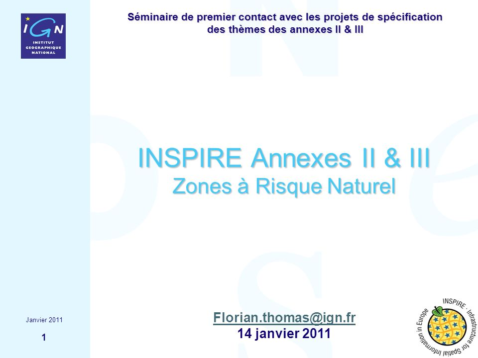 INSPIRE Annexes II & III Zones à Risque Naturel