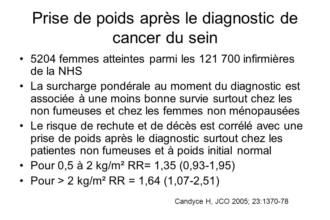 Prise de poids après le diagnostic de cancer du sein