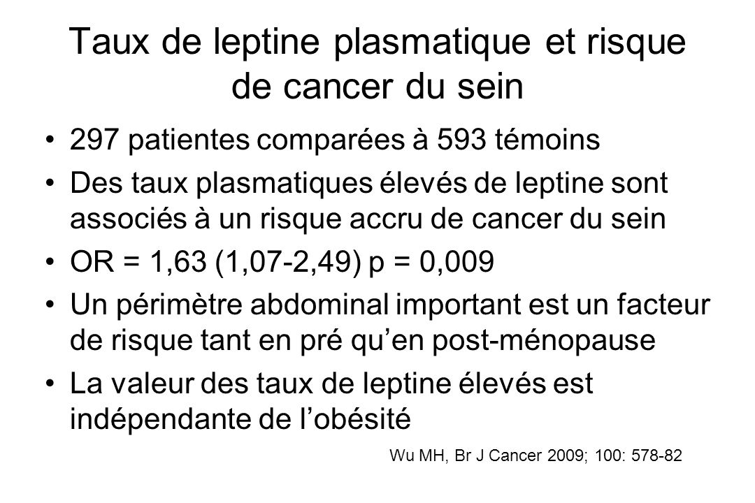 Taux de leptine plasmatique et risque de cancer du sein