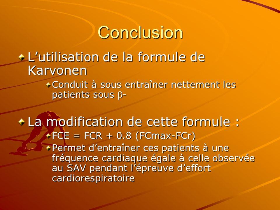 Conclusion L'utilisation de la formule de Karvonen