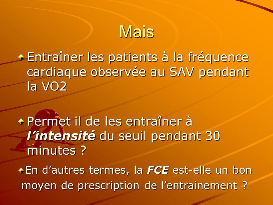 Mais Entraîner les patients à la fréquence cardiaque observée au SAV pendant la VO2.