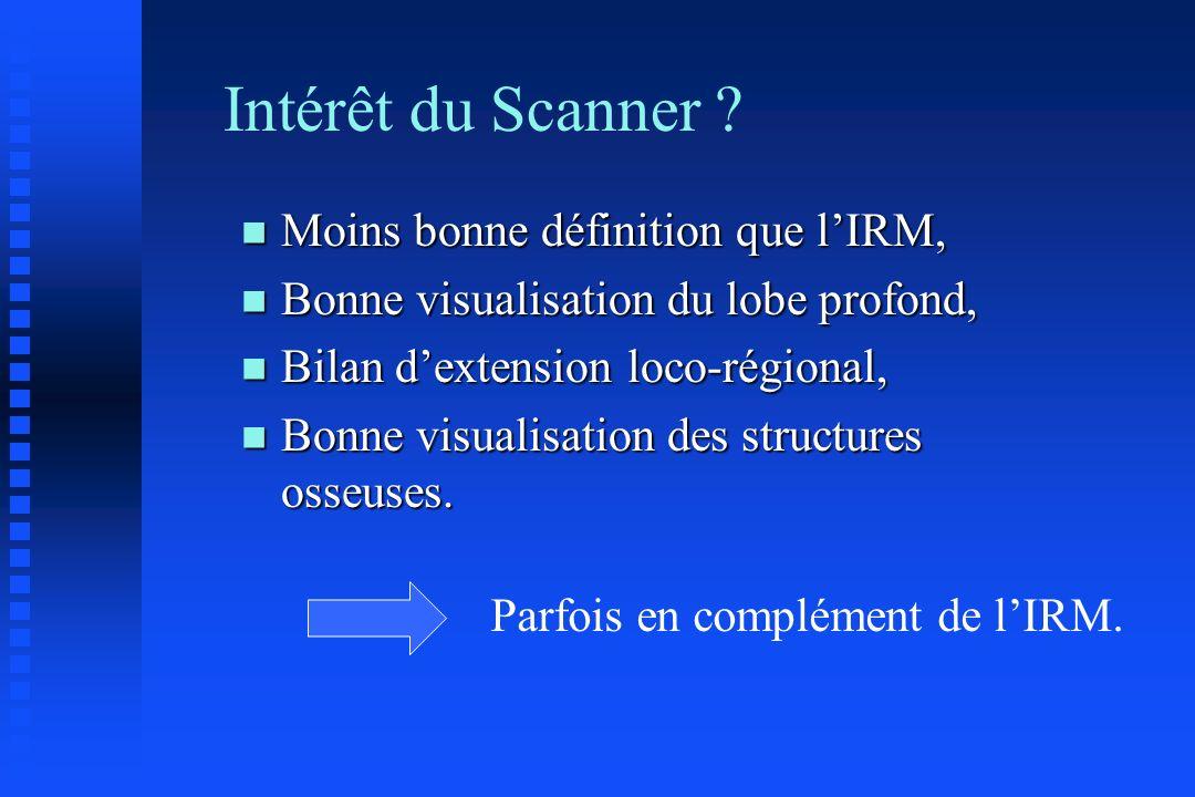 Intérêt du Scanner Moins bonne définition que l'IRM,