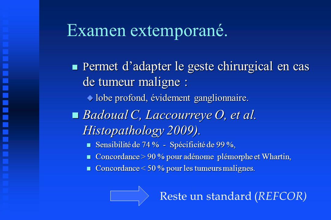 Examen extemporané. Permet d'adapter le geste chirurgical en cas de tumeur maligne : lobe profond, évidement ganglionnaire.