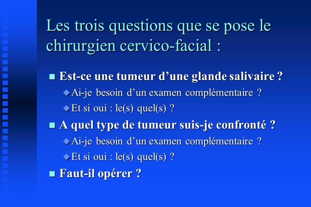 Les trois questions que se pose le chirurgien cervico-facial :