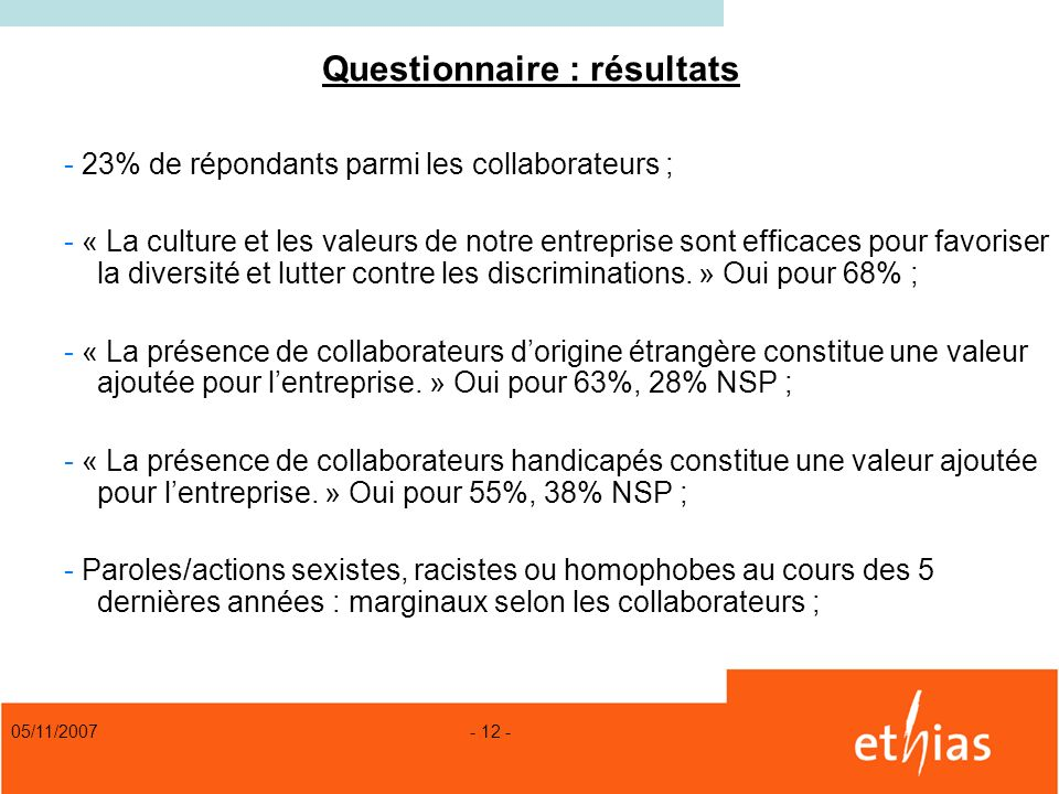 Questionnaire : résultats