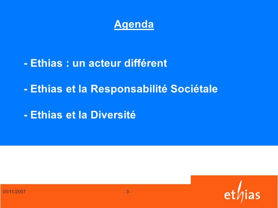 Agenda - Ethias : un acteur différent - Ethias et la Responsabilité Sociétale - Ethias et la Diversité