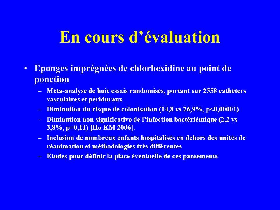 En cours d'évaluation Eponges imprégnées de chlorhexidine au point de ponction.
