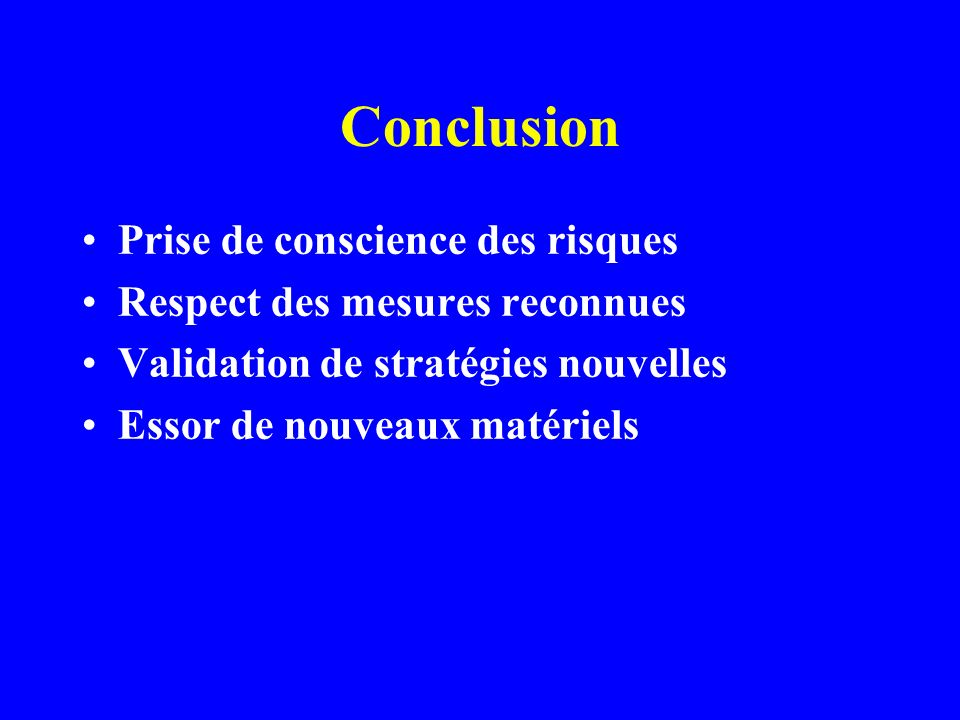 Conclusion Prise de conscience des risques