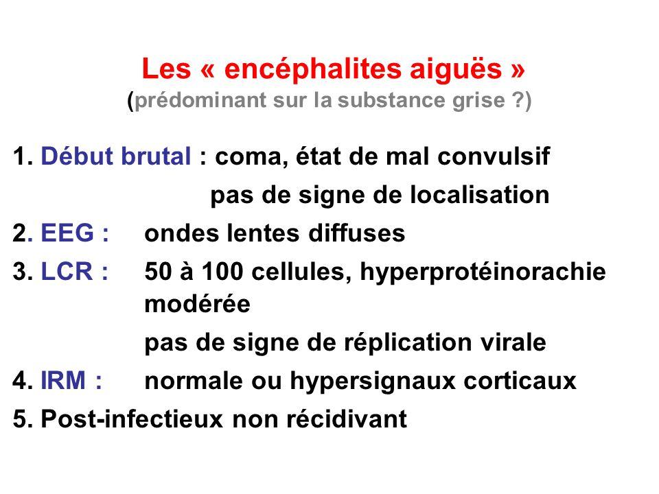 Les « encéphalites aiguës » (prédominant sur la substance grise )