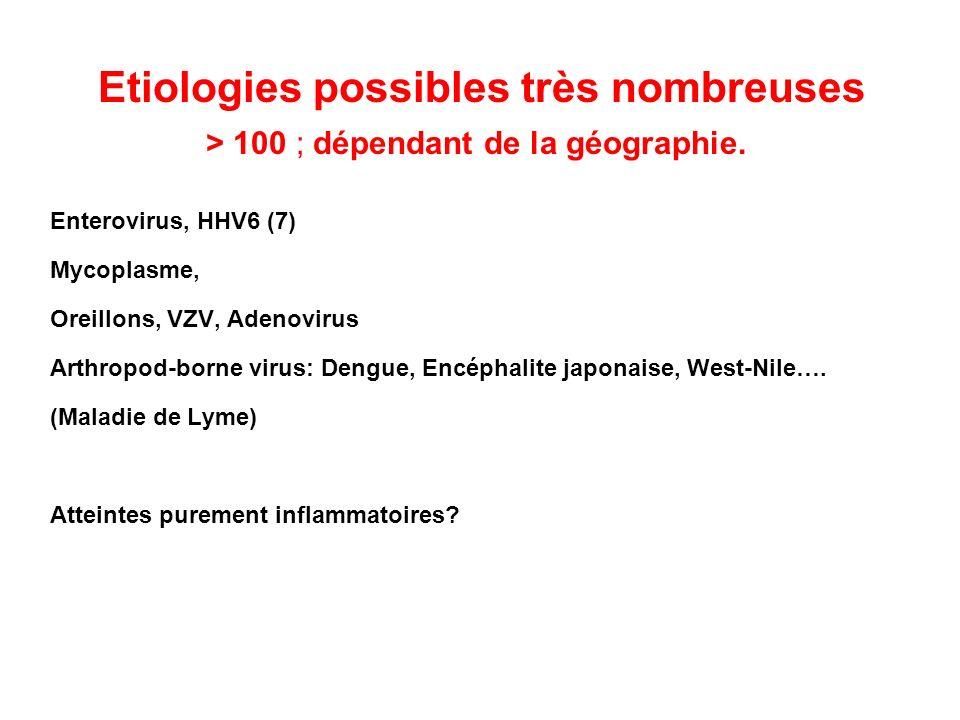 Etiologies possibles très nombreuses > 100 ; dépendant de la géographie.