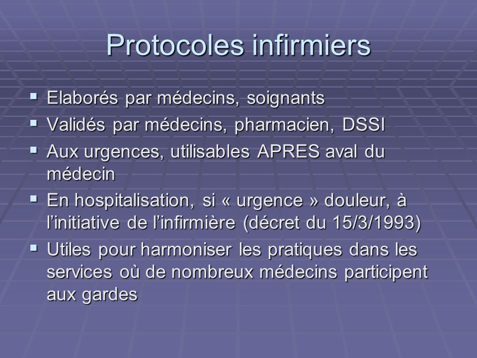 Protocoles infirmiers