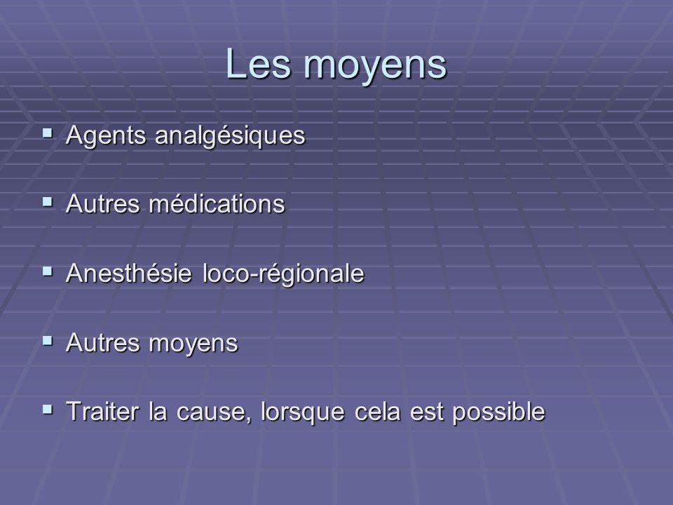 Les moyens Agents analgésiques Autres médications