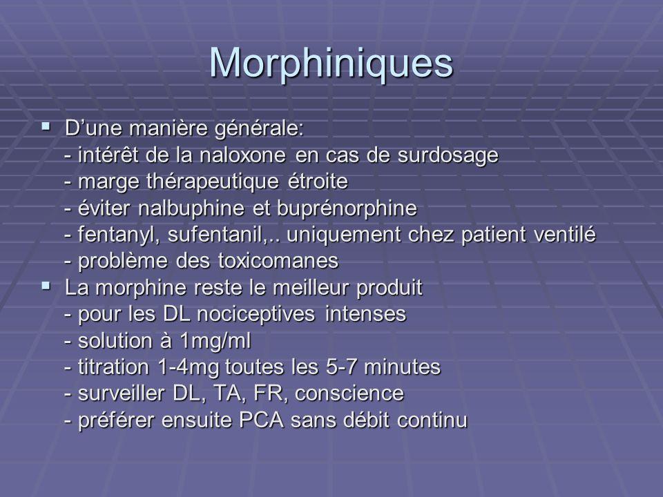 Morphiniques D'une manière générale: