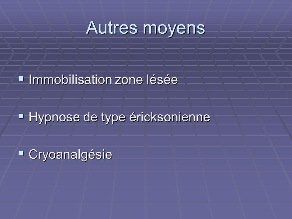 Autres moyens Immobilisation zone lésée Hypnose de type éricksonienne