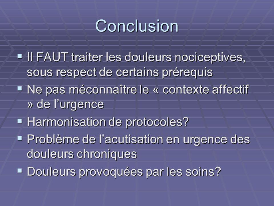 Conclusion Il FAUT traiter les douleurs nociceptives, sous respect de certains prérequis. Ne pas méconnaître le « contexte affectif » de l'urgence.