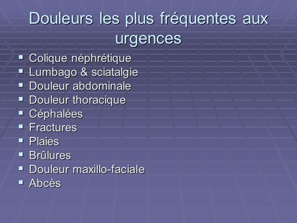 Douleurs les plus fréquentes aux urgences