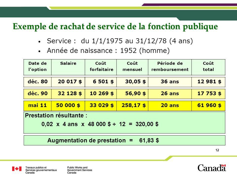 Exemple de rachat de service de la fonction publique