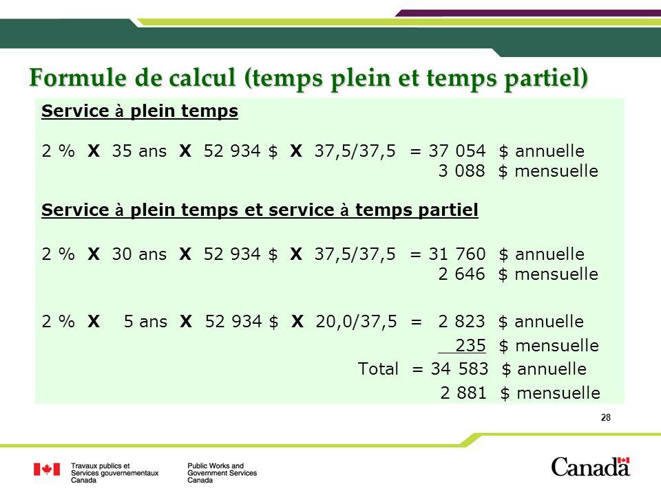 Formule de calcul (temps plein et temps partiel)