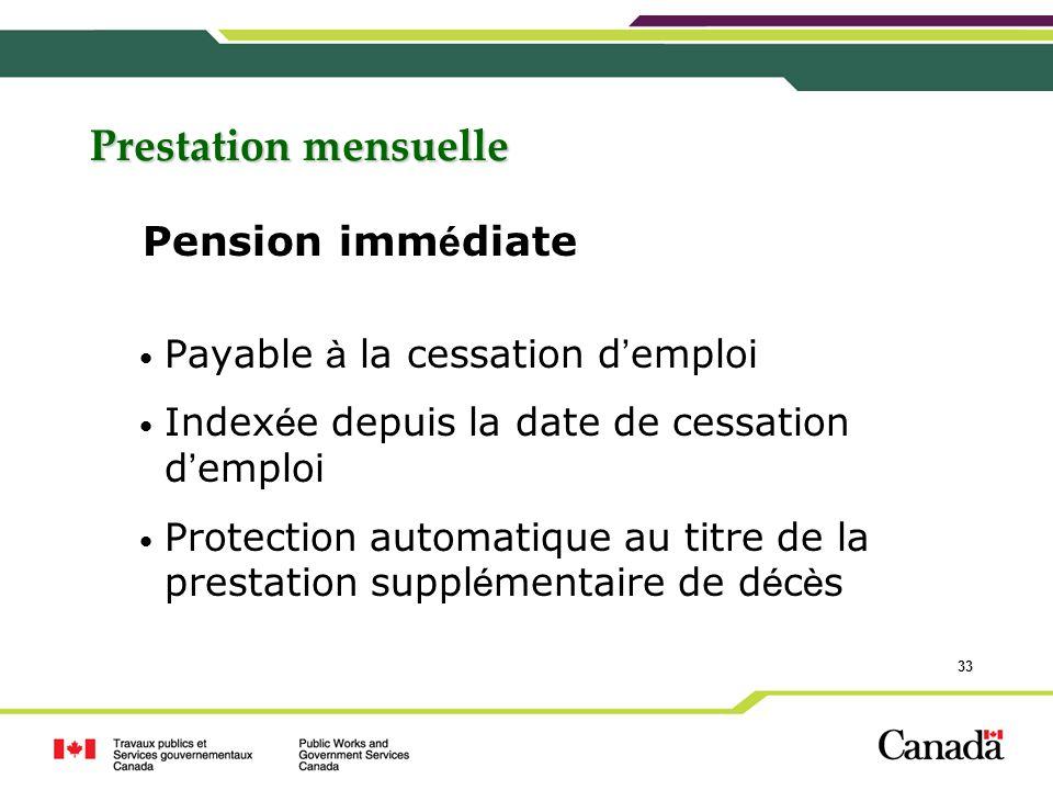Prestation mensuelle Pension immédiate Payable à la cessation d'emploi