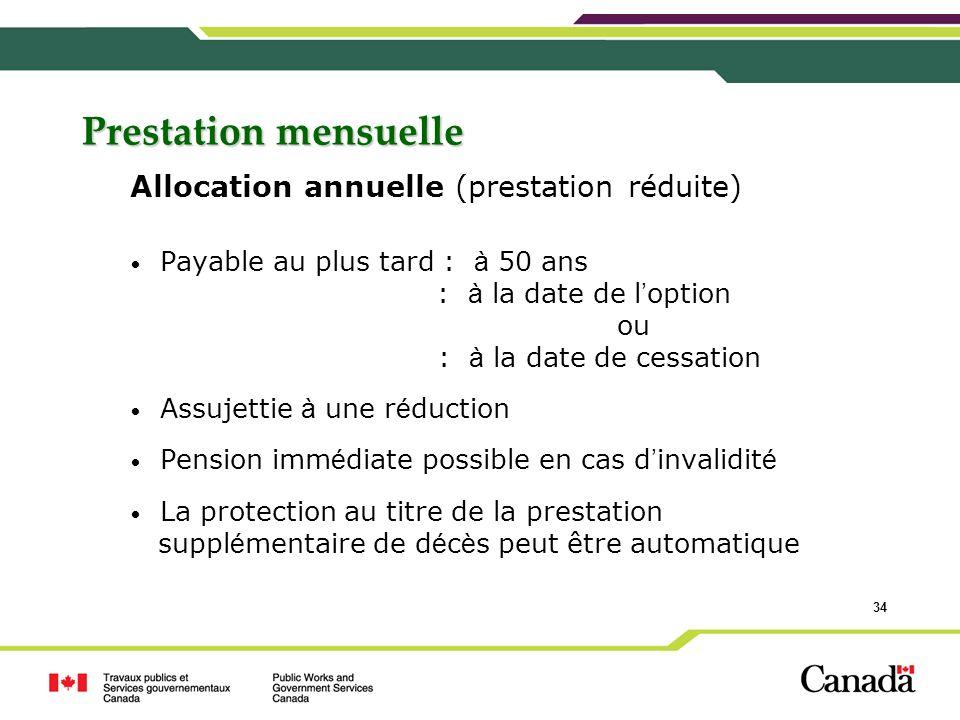 Prestation mensuelle Allocation annuelle (prestation réduite)