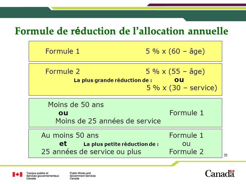 Formule de réduction de l'allocation annuelle