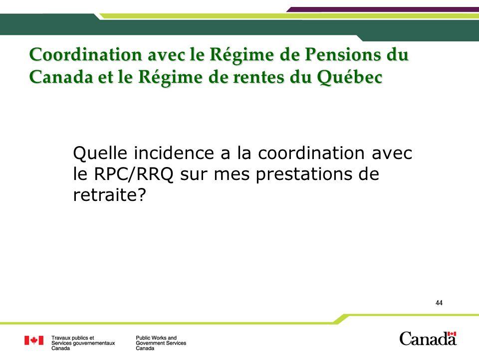 Coordination avec le Régime de Pensions du Canada et le Régime de rentes du Québec