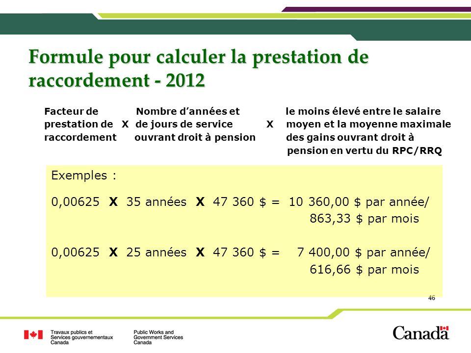 Formule pour calculer la prestation de raccordement - 2012