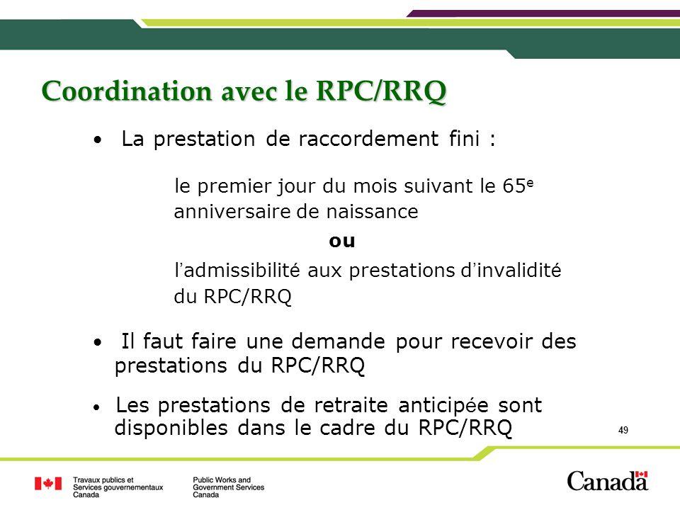 Coordination avec le RPC/RRQ