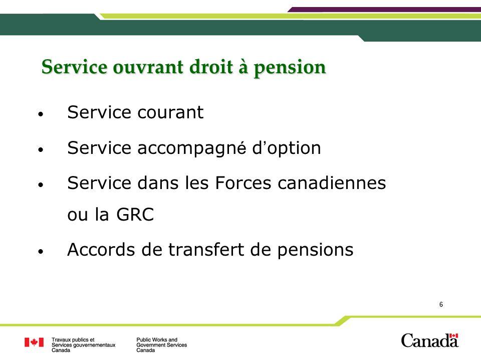 Service ouvrant droit à pension