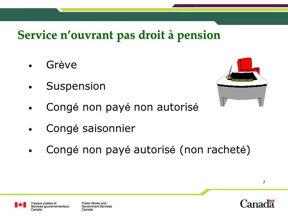 Service n'ouvrant pas droit à pension