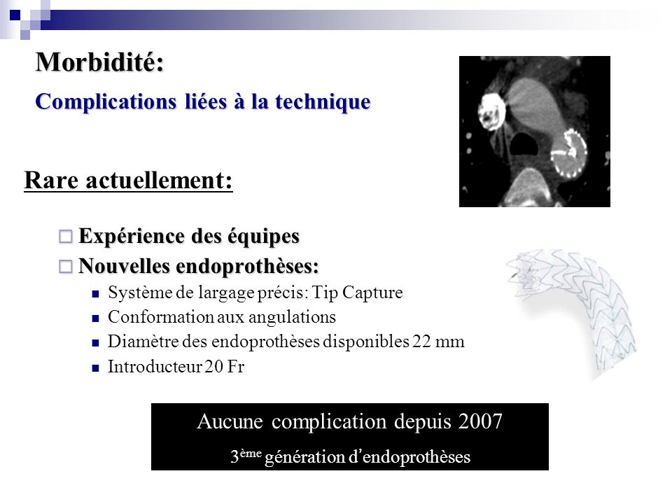 Morbidité: Complications liées à la technique