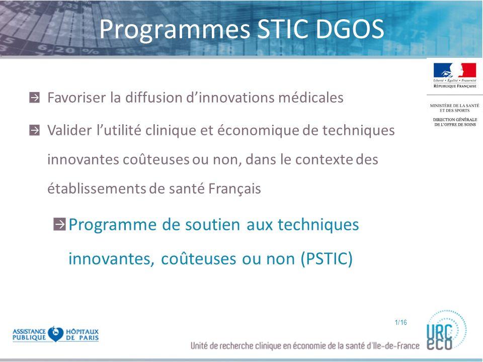 Programmes STIC DGOS Favoriser la diffusion d'innovations médicales.