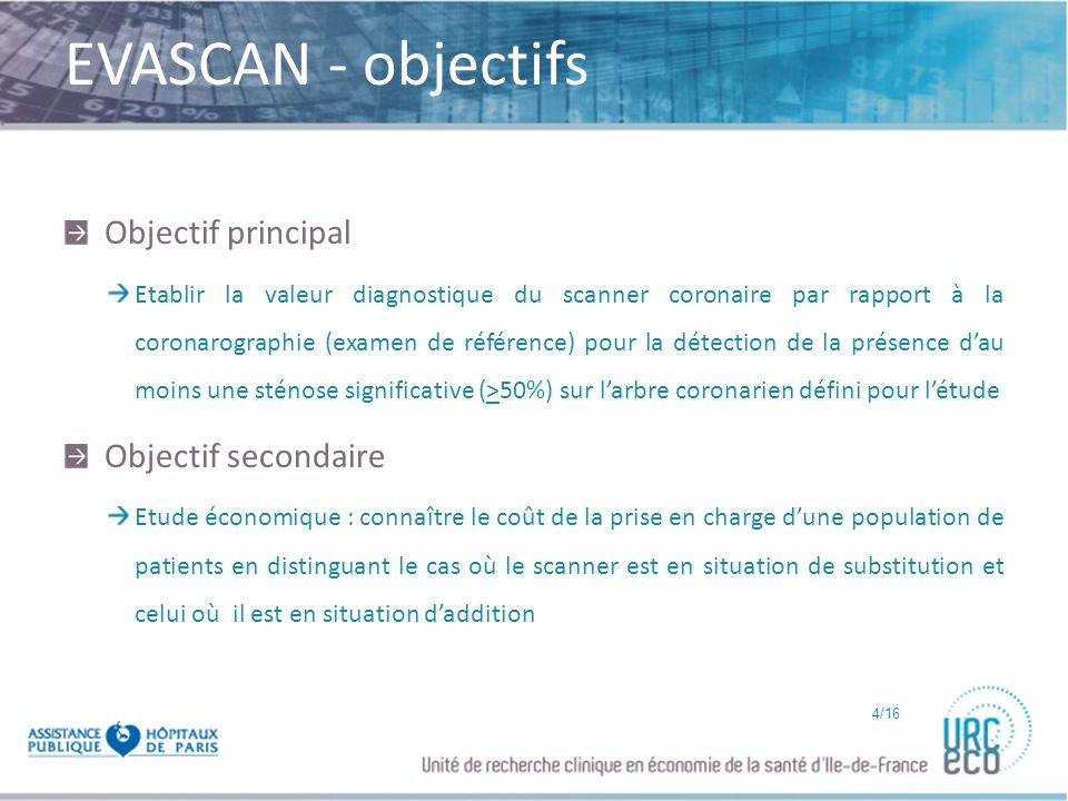EVASCAN - objectifs Objectif principal Objectif secondaire