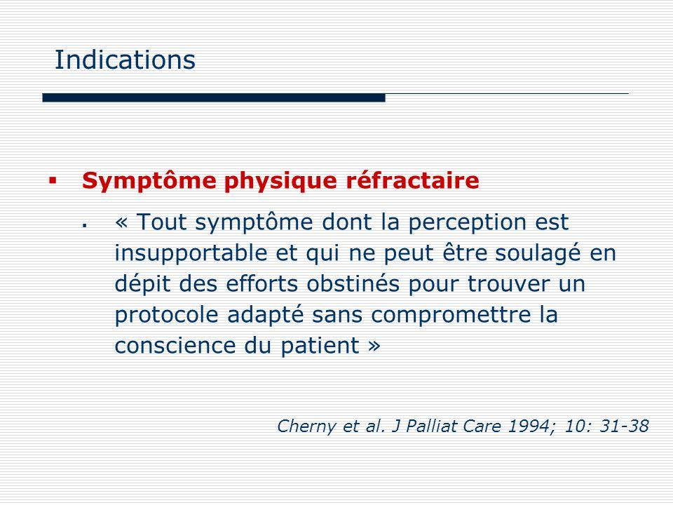 Indications Symptôme physique réfractaire