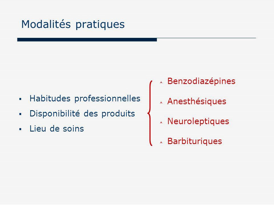 Modalités pratiques Benzodiazépines Anesthésiques Neuroleptiques