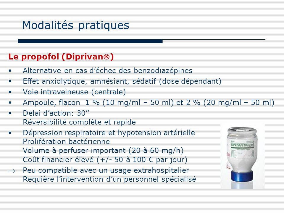 Modalités pratiques Le propofol (Diprivan)