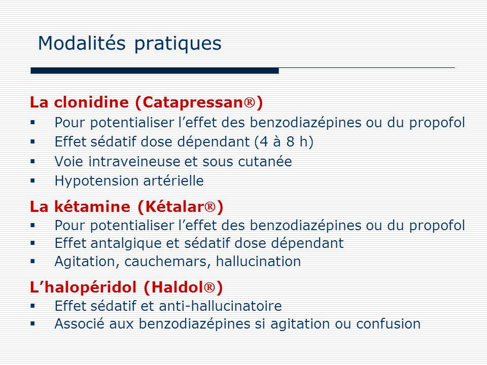 Modalités pratiques La clonidine (Catapressan) La kétamine (Kétalar)