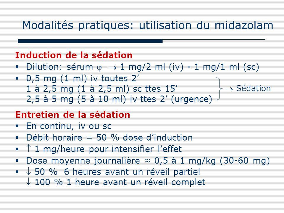 Modalités pratiques: utilisation du midazolam