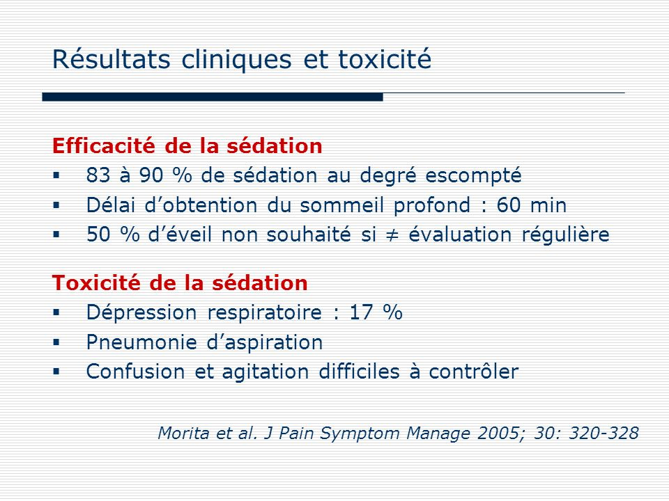 Résultats cliniques et toxicité