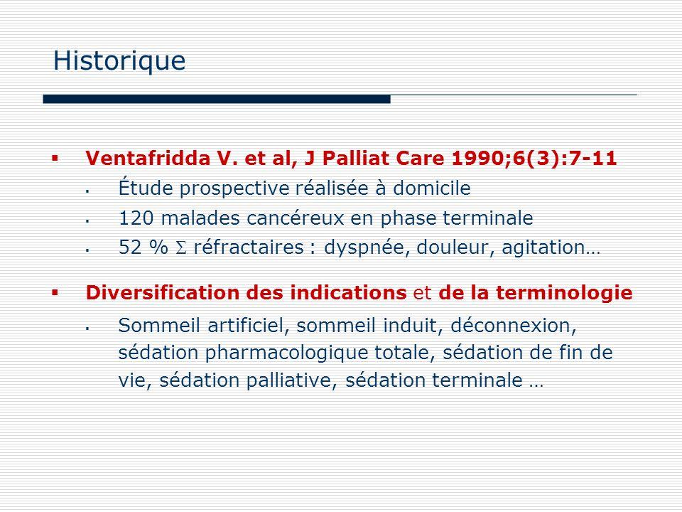 Historique Ventafridda V. et al, J Palliat Care 1990;6(3):7-11
