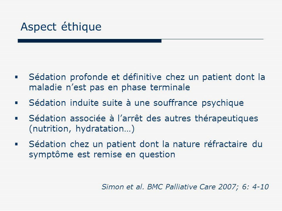 Aspect éthique Sédation profonde et définitive chez un patient dont la maladie n'est pas en phase terminale.