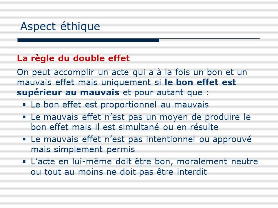 Aspect éthique La règle du double effet