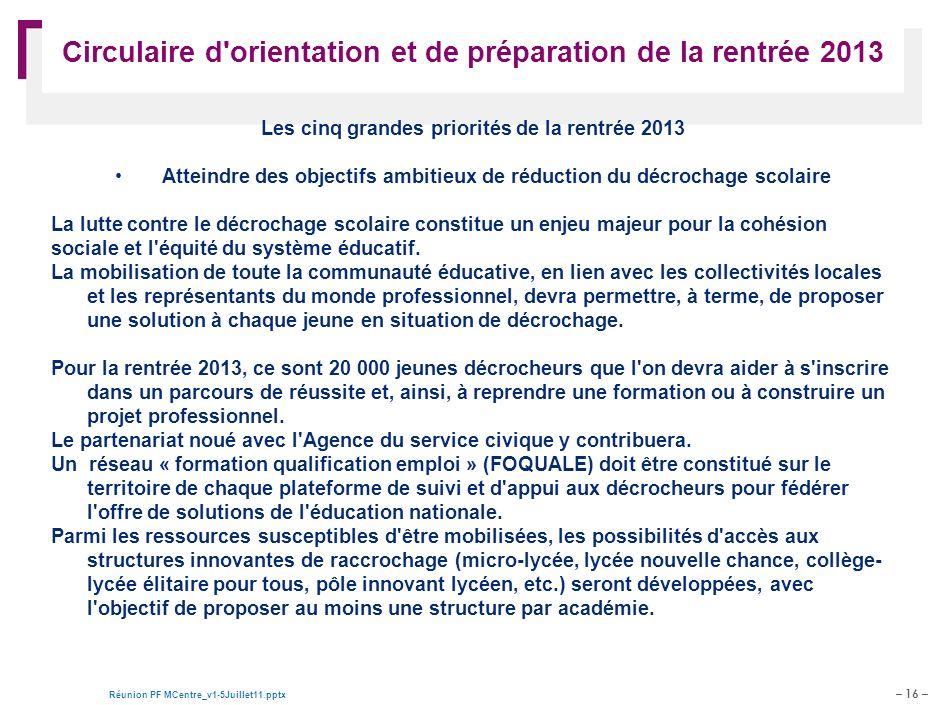 Circulaire d orientation et de préparation de la rentrée 2013