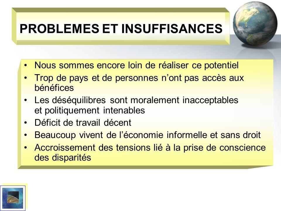 PROBLEMES ET INSUFFISANCES