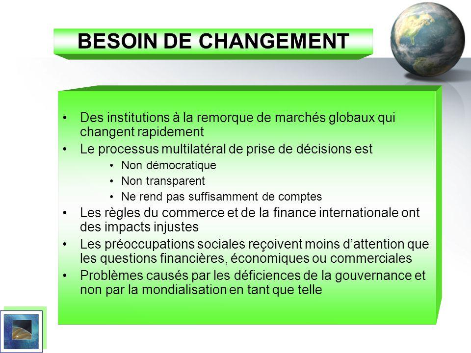 BESOIN DE CHANGEMENT Des institutions à la remorque de marchés globaux qui changent rapidement. Le processus multilatéral de prise de décisions est.
