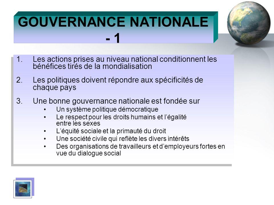 GOUVERNANCE NATIONALE - 1