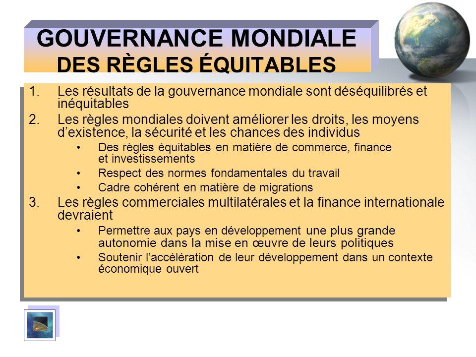 GOUVERNANCE MONDIALE DES RÈGLES ÉQUITABLES