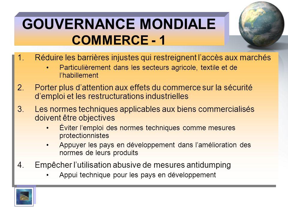 GOUVERNANCE MONDIALE COMMERCE - 1